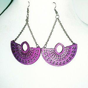 Long wooden dangle Earrings purple new